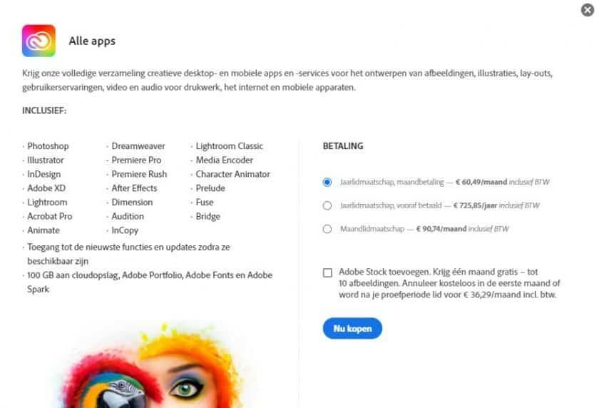 Adobe Creative Cloud alle apps