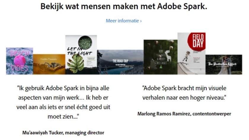 Adobe Spark toepassingen