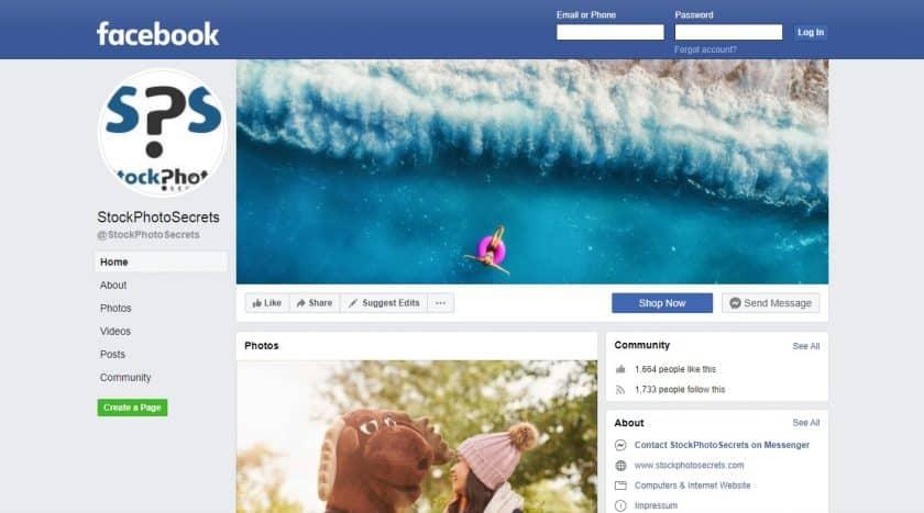 Stockfoto's op Facebook