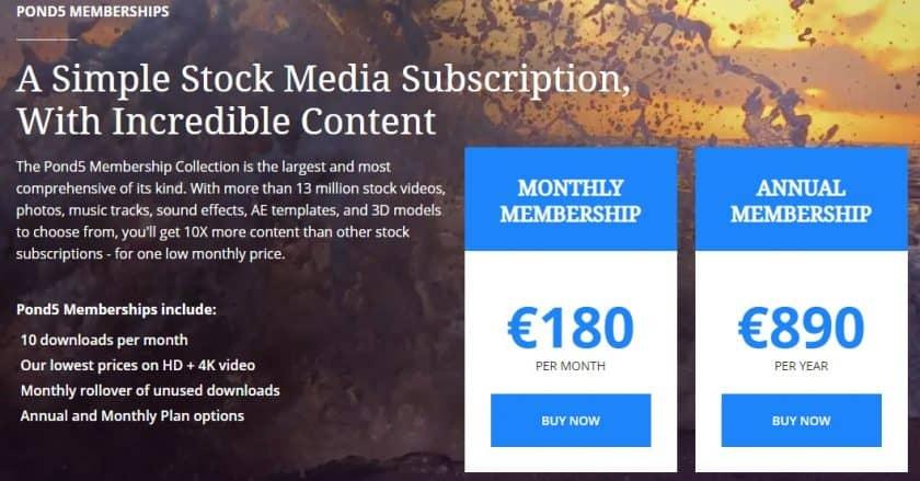 Pond5 abonnementen prijzen