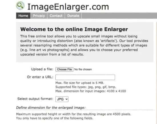 Image Enlarger wesbite screenshot