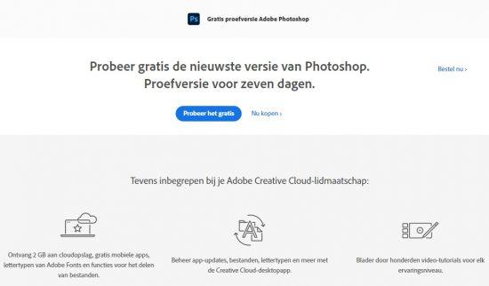 Photoshop website screenshot