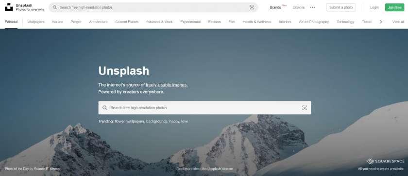 Unsplash website screenshot